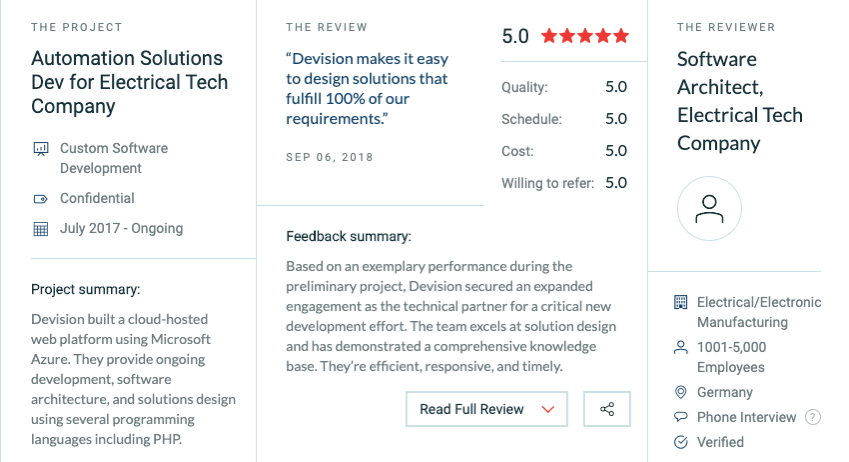Client review in Clutch for Custom Software Development services performed by Devision.